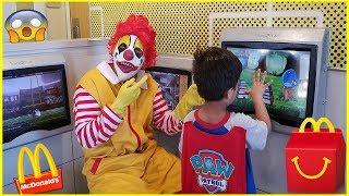 Ronald McDonald's surprise visit to McDonalds | Kids Halloween Videos