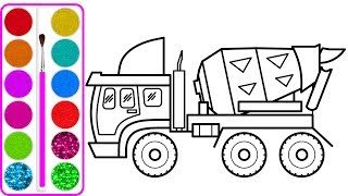 Xe trộn bê tông cho bé vẽ | Dạy bé vẽ | Dạy bé tô màu | Concrete Mixer Truck drawing and coloring