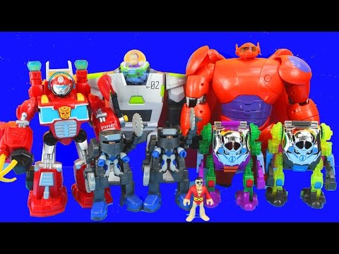 Imaginext Robot Wars With Big Hero 6 Baymax Toy Story Buzz Lightyear Joker Transformers 2nd Annual video