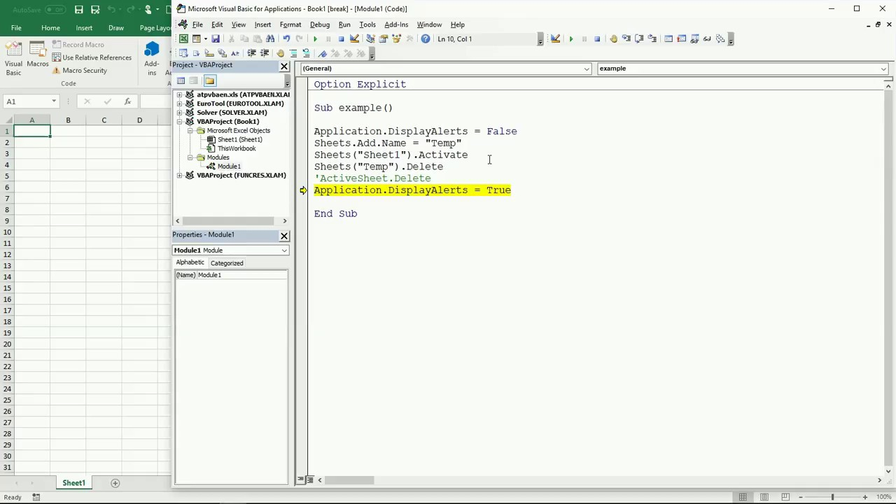 Create temporary worksheet vba