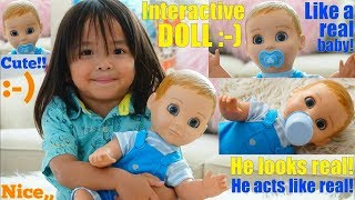Children's Interactive Toy Dolls: A Toy Doll Review. A Talking Baby Boy Doll Unboxing & Playtime!