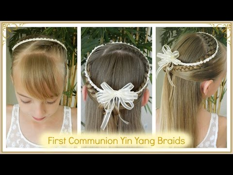 Best First Communion Hairstyles 2/3 / Yin Yang Braids 4 different accesories / Bonita Hair Do