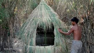 Primitive Technology, Make tribal mud huts by Bamboo and Grass
