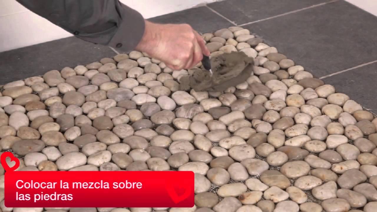 Piso piedras youtube for Piedras de rio para jardin