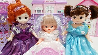 Baby doll Princess Castle and change dress with surprise eggs toys play