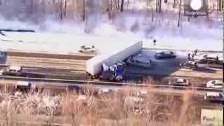 Massive chain reaction pileups in Pennsylvania due to slick conditions, sun glare   aerial footage