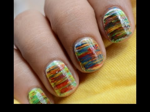 Nail Art Designs SHORT Nails - How To With cute fan brush Art Design Nail Art About Beginners Nails