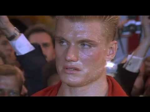 Apollo faces the Russian boxer. Drago last punch permanently 'knocks out' Apollo Creed. CAST: Brigitte Nielsen, Burt Young, Carl Weathers, Dolph Lundgren, Ja...