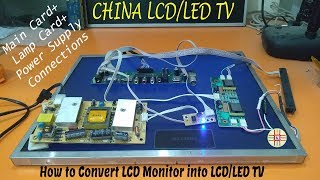 Board+Power+Lamp Card Connections Part-4 of How to Convert LCD Monitor into LED TV Complete Tutorial