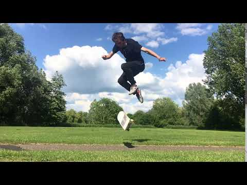 Still trick challenge. Late front foot double inward heel flip? Maybe