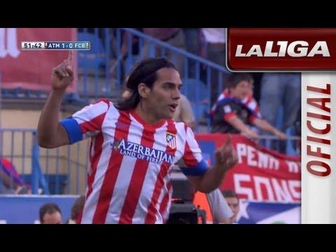 Gol de Falcao (1-0) en el Atlético de Madrid - FC Barcelona - HD