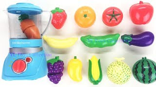 Learn Colors and Names Fruit Vegetables Strawberry Tomato Apple Velcro Cutting Slime Surprise Kinder
