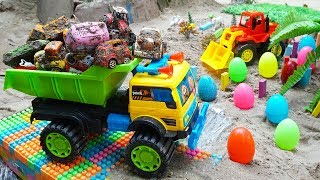 Fine Toys Construction Vehicles Looking for Cars in the Sand Toys For Kids | Videos For Children