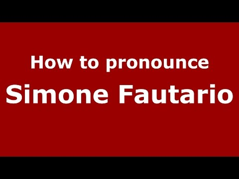 Audio and video pronunciation of Simone Fautario brought to you by Pronounce Names (http://www.PronounceNames.com), a website dedicated to helping people pronounce names correctly. For more...