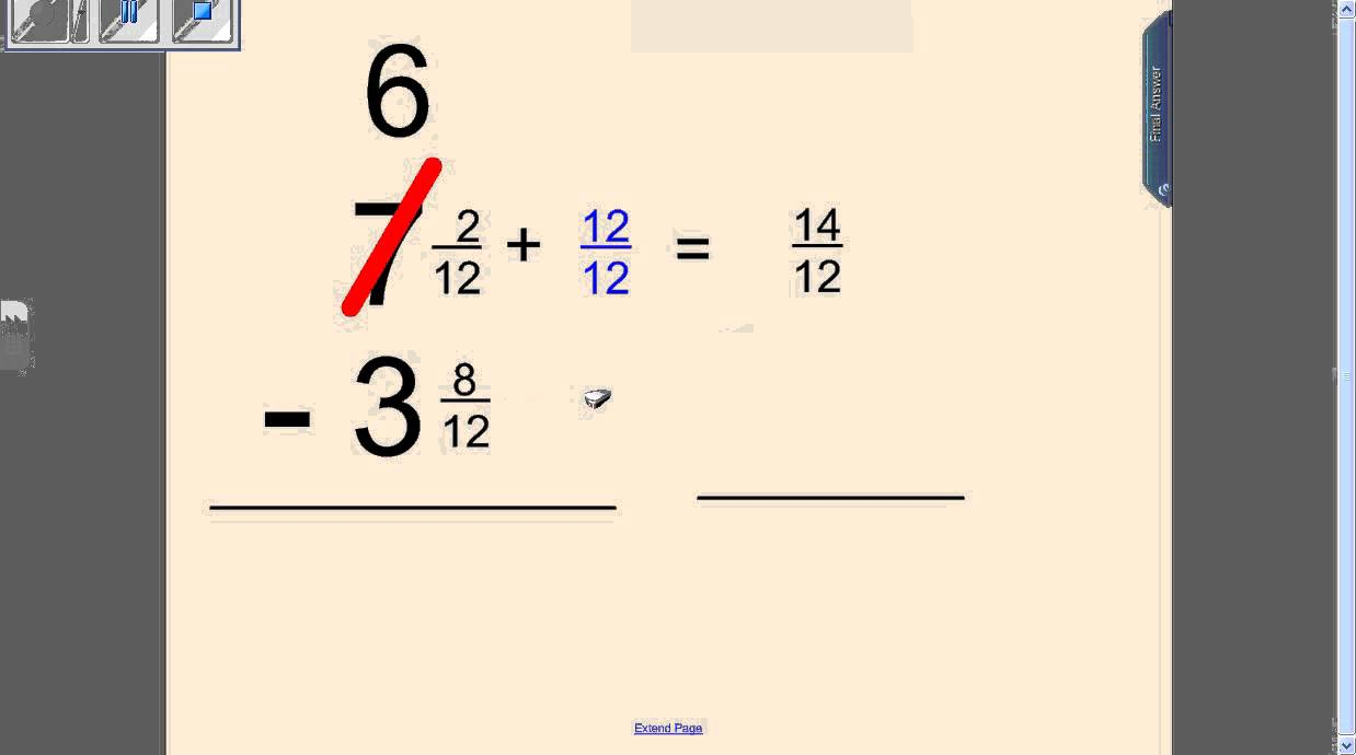 Subtracting Fractions with Borrowing - YouTube