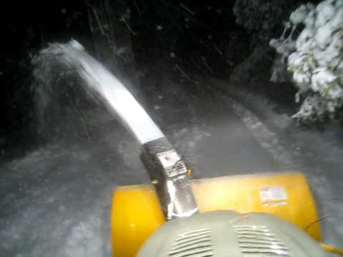 Cub Cadet snowblower at night