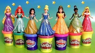 7 Disney Princess MagiClip Collection Tiana Rapunzel Cinderella Magic-Clip Play-Doh-Plus Sparkle