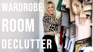 WARDROBE ROOM TOUR AND DECLUTTER / ORGANISING MY WALK IN WARDROBE | Em Sheldon