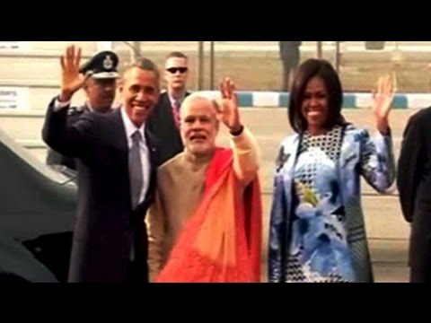 US President Barack Obama and his wife Michelle landed in Delhi a little before 10 this morning, on a three-day visit to India. In a departure from protocol, Prime Minster Narendra Modi received them at the airport.  Watch more videos: http://www.ndtv.com/video?yt
