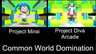 Project Mirai Deluxe Common World Domination PV Comparison 3DS Arcade