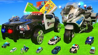 Police Cars: Ride On Surprise Toy Vehicles w/ Construction Toys, Trains & Fire Truck for Kids