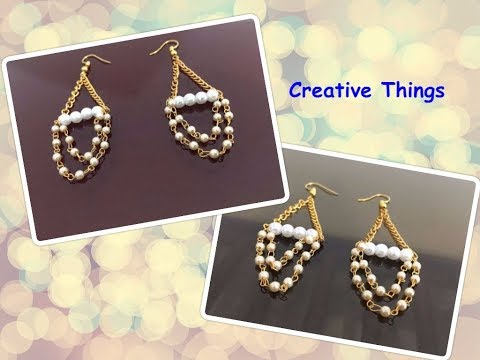 Pearl Chain Earrings || How To Make Pearl Chain Earring At Home || Creative Things