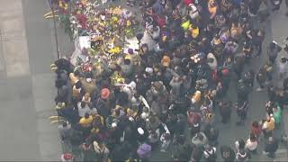 Kobe Bryant fans gather outside the Staples Center in LA to honor the NBA legend