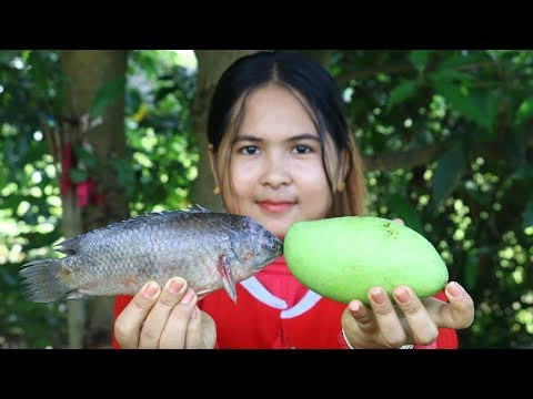 Awesome Cooking Grilled Fish W/ Mango & Tamarind Pickle - Cook Recipe - Eating Show No Talking