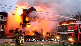 3rd alarm house fire with collapse