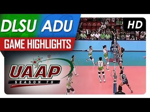 UAAP 78 WV: DLSU vs. AdU Game Highlights