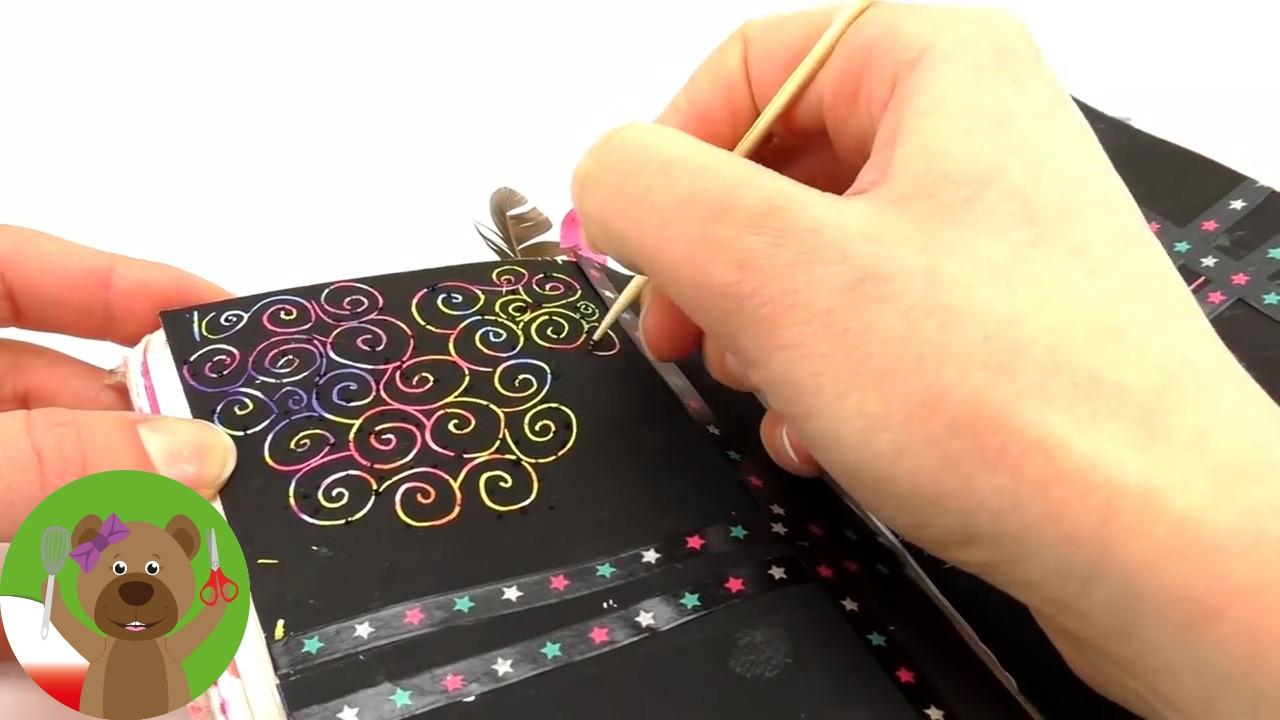 Książka z zadaniami | pokoloruj strony | technika drapania | zdrapywanki