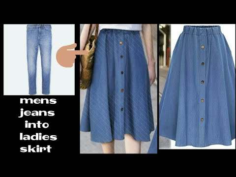 DIY:Convert Old Jeans into  skirt|In 10 minutes