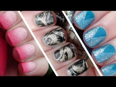 3 Textured Polish Nail Art Designs / Simple Easy Nail Art For Beginners