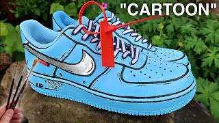 Custom CARTOON Off White Air Force 1's!
