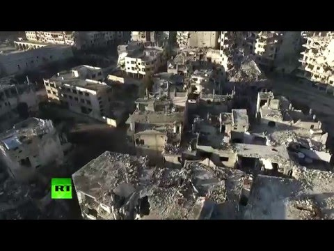 Aerial: Drone footage shows total devastation in Homs, Syria (EXCLUSIVE)