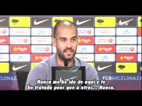 Discusion de Pep Guardiola en plena rueda de prensa, con un periodista de radio Marca.