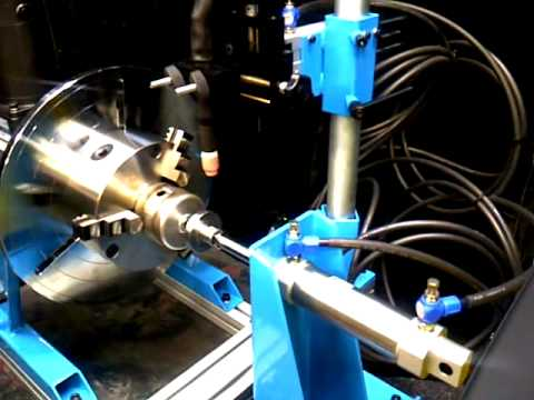 Lathe type equipment with welding positioner and esab caddy tig welder
