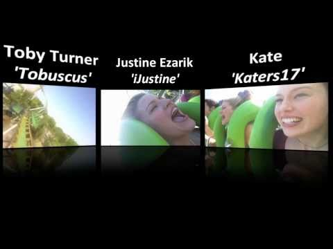TOBUSCUS, iJUSTINE & KATERS17 ON ROLLERCOASTER (3 camera angles)