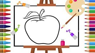 How to Draw apple -Coloring pages for Kids - Art Colors for Children - Learn Drawing - Art Explain