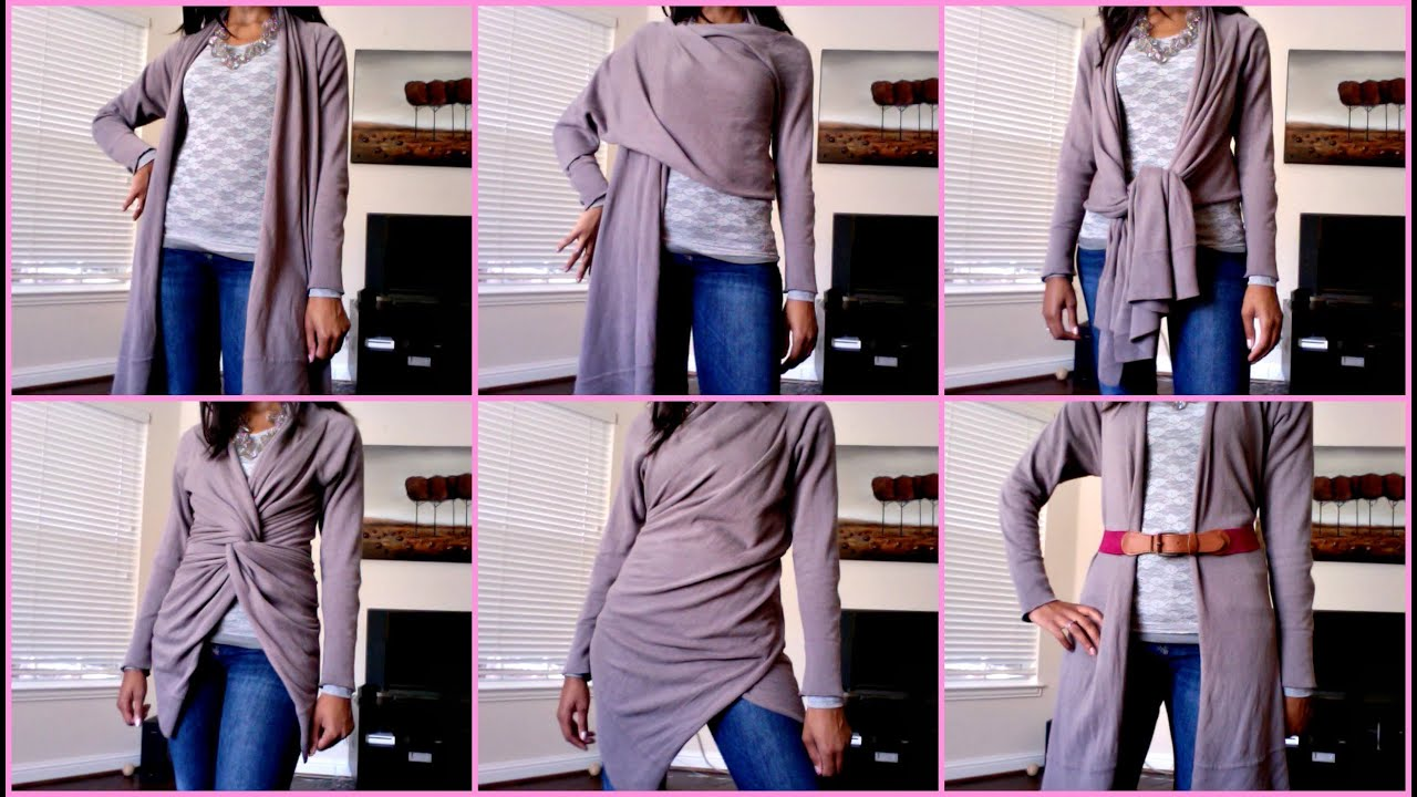 How To Wear A Wrap Sweater 9 Looks Youtube