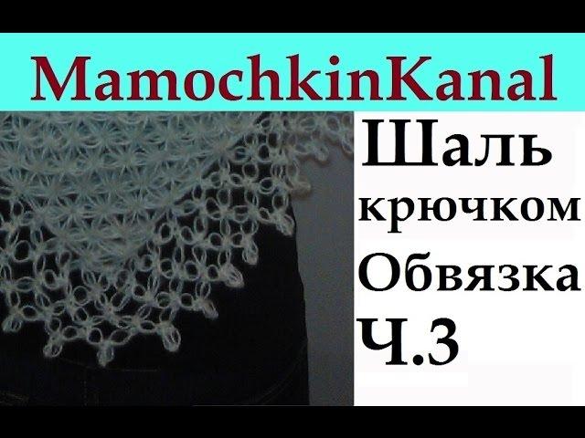 Шаль крючком Обвязка края Соломоновы петли Ч.3 Solomon's knot border Crochet shawl