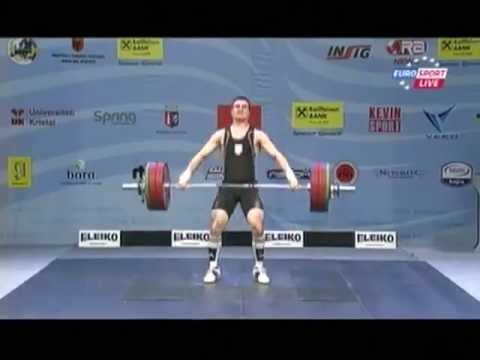 Men 85kg snatch European Weightlifting Championships Tirana 2013