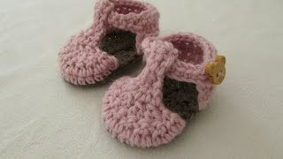 VERY EASY crochet T-bar baby shoes / booties tutorial