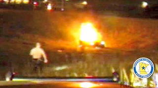 Dashcam Shows Troopers Rescue Suspect From Fiery Crash