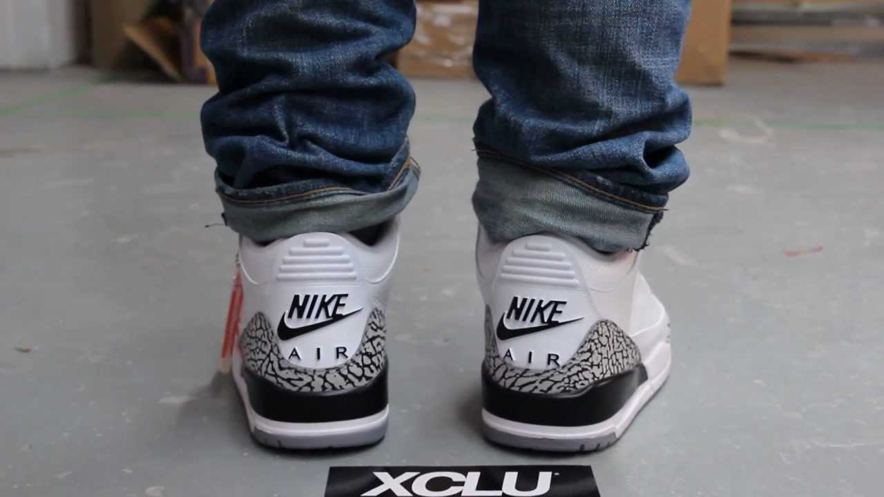 Green Jordan Cement On Feet : Air jordan retro s white cement on feet video at