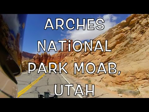 Motorcycle Ride through Arches National Park Moab Utah
