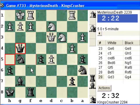 Chess World.net:  Blitz #348 vs. MysteriousDeath (2239) - King's Indian: Petrosian system, Stein