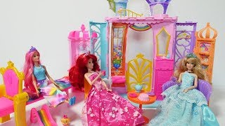 Barbie Dreamtopia Rainbow Cove Doll and Castle Set and Disney Princess Aurora & Ariel.