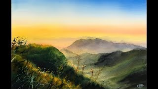 Landscape Mountains Painting in Watercolor