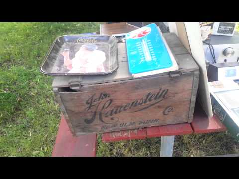 Estate Auction haul, beer signs, vintage stereo, starbucks, hats 7/23/15